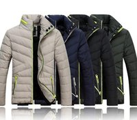 Vêtements d'hiver Prix-Black Khaki Mode masculine Collier à manches longues Collier à manches longues Boy Slim Zipper Down Jacket Winter Warm Down Outwear rembourré M1837