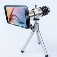 Wholesale Covers Galaxy Zoom - For Samsung Galaxy S6 12X Optical Zoom Telescope Camera Lens+mini Tripod +Back Case Cover Phone 12X Zoom Lens