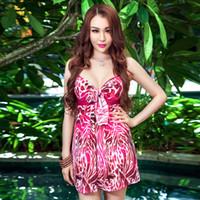 Wholesale Sexy Open Bust Bras - 2015 Sexy Women Low Cut Tops Dress Big Bust Opening Low-cut Skirt Beachwear Red Leopard Push Up Bra One Piece Swimwear For Woman XL - 5XL