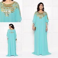 arabic party decorations - 2015 Arabic HIjab Evening Dresses Golden Decoration Half Sleeves Scoop Full Length Party Prom Gowns Vestidos