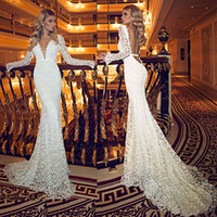 Wholesale Vintage Deep V Neck Wedding Dresses With Sheer Long Sleeves Lace Backless Brush Train Long Mermaid New Elegant Bridal Gowns BO6943