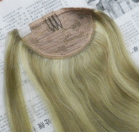 human hair ponytail - 20 quot Clip In Ponytail Human Hair Extensions Wrap Around Ponytail Hair Pieces Color g set