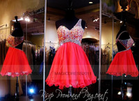 coral for sale - Lovely Coral Homecoming Dresses Short One Shoulder Party Prom Gowns A Line Crystal Beaded Cocktail Graduation Dresses for Sale