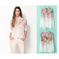 Wholesale 2014 Summer New European style with fashion floral printed chiffon long sleeved shirt blusas Blouses Shirts