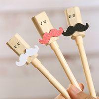 Wholesale 12PCS SET School Office Supplies Gel Pens Korea Style Bamboo Moustache Black Liquid ink Pen Cartoon Stationery Kits