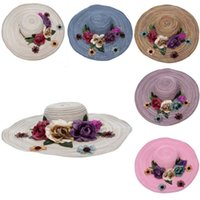Wholesale Brand New Bohemia Floppy Floral Summer Beach Wide Brim Hats All match Women Lady Girls Straw Bucket Hats Stylish Top Caps Colors Choose EXU