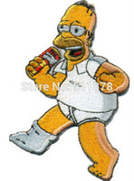 beer patch - 3 quot HOMER SIMPSON BEER Rockabilly Heavy Metal Movie TV Series Costume Embroidered iron on patch TRANSFER MOTIF APPLIQUE