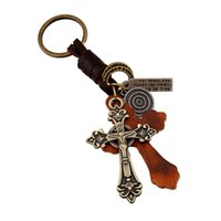 Wholesale 2016 Rushed Promotion Factory Outlets Christian Leather Key Rings Jewelry Retro Atmosphere Chain Alloy Cross Men s Braided Keychain