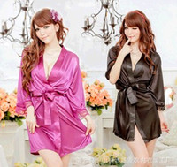 Wholesale Womens Ladies Sexy Silk Lace Kimono Bathrobe Dressing Gown Lingerie Sleepwear nightwear