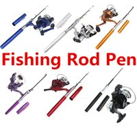 fishing see - Fishing Rods Reels Pen Mini Portable Fountain Aluminum Alloy Telescopic Pocket See Rod Reel Pen With Retail Packaging
