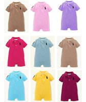 Wholesale 9 colors branded summer short sleeved baby romper Colorful infant boys and girls rompers