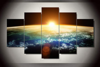 Cheap 5 Panel Free shipping Hot Sell Sunrise Modern Home Wall Decor Canvas picture Art HD Print Painting Canvas Arts Framed art F 454
