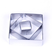 Wholesale 3pcs Stainless Steel Square Cookie Cutter Bread Cake Biscuit Decorating Mould Mold Pastry DIY Bakeware Y50 JJ0290 M5