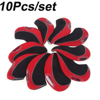 Wholesale 10Pcs Set Club Heads Red Neoprene Golf Headcover Wedge Iron Protective Putter Head Cover Golf Accessary