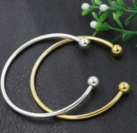 Wholesale Sp Wholesale Jewelry - New Silver Gold Plated Vogue SP Smooth Bangle Bracelet Fit European Charm Beads 19cm Jewelry DIY