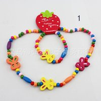 Cheap Children Jewelry Mixed Color Necklaces Bracelets Wood Beads Jewelry Sets