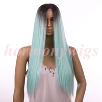Cheap Cheap Lace Front Wigs 20inch ombre color chocolate Black& Mint Green Synthetic heat Resistant Hair wigs hot sale