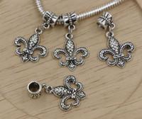 Charms fleur de lis - Hot Sales Antique Silver Zinc Alloy Fleur De Lis Dangle Charms Pendants DIY Making x mm ab626