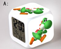 Wholesale Super Mario LED colors clock changing digital desk alarm clock many patterns