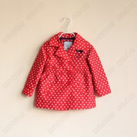 Cheap Children Girls coat Love wave trench overcoat red blue 2013 autumn
