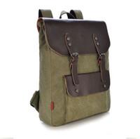 Wholesale Mens Vintage Canvas Leather Travel Camping Backpack Satchel Shoulder School Bag
