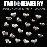word charms - Mix Style Heart Shape Charms Word charms Floating Tagged Charm for Living Glass Locket Necklace Bracelet