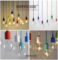 achat en gros de feux de chute modernes-Colorful Suspension E27 Socket Pendant Light Lamp Goutte Modern Vintage Edison Ampoules Bar Restaurant Muuto Ampoules non inclus