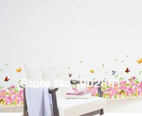 flower stickers wall - funlife x185cm x73in Pink Flower Vine Glass Colourful Butterfly Fences Art Mural Wall Sticker For Living Room Wall Border