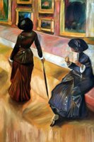 Oil Painting art louvre - Edgar Degas Paintings for sale Mary Cassatt At the Louvre Nude art Home Decor High Quality Handmade