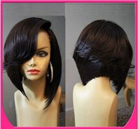 Wholesale 7A Full lace human hair wigs for black women Glueless full lace wigs Brazilian hair bob wig straight human hair lace front wigs