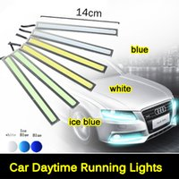 Wholesale Ultra Bright V W Daytime Running Lights cm Length Daylight COB Car LED DRL Day time lamp Waterproof Silver Frame