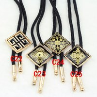 Wholesale Hot Selling Retro Square carved Bolo Ties Shoestring Necktie For Women Men Statement Necklace Fashion tie W940