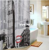 shower curtain - 3D Polyester BIg Ben Waterproof Bathroom Shower Curtainse Terylene Shower bath curtains ETH029