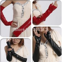 Wholesale 1pair New PU Faux Leather Long Gloves Summer Women Ladies Fashion Arm Length Fingerless Gloves CM Color