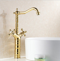 bathroom vanity double sink - and Retail Promotion Waterfall Bathroom Golden Faucet Double Handle Vanity Sink Mixer Tap G1015