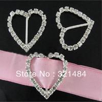 Wholesale Free ship CRB001 CM Heart Crystal Rhinestone Buckles Ribbon Sliders For Gift box bows Wedding Invitation Cake Decoration