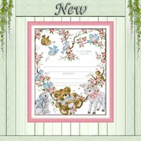 bear certificates - Birth certificate bear birds cartoon painting counted Print on canvas DMC CT CT Cross Stitch Needlework kits embroidery Sets