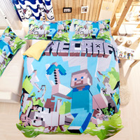 Wholesale 2015 New D Bedding Set Minecraft Creeper Kids Bed Set Twin Full Queen Size Pieces Duvet Cover Pillow Sham Online Game Character