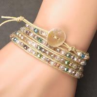 bead wrap bracelet diy - Price New Charm Bracelet DIY Leather Bracelet Rows Bracelet mm Crystal Beads Leather Wrap Bracelets WRBR