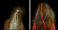 Wholesale LED Light Hair Flash Braid Hair Decoration Fiber Luminous Braid Party Festival Bar Party for Halloween Christmas Party Holiday Colorful