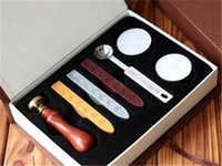 Wholesale Hot selling Vintage Wax seal Letter Seal A Z wood handle Gift box kit wax stamp spoon tea wax