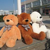 achat en gros de brun en peluche ours en peluche noir-Hot Sale 100 Cotton DARK Brown Gigante 100cm Peluche mignonne Peluche ours Huge Soft TOY