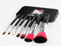 makeup brush set - Hot selling Set Hello kitty Make Up Cosmetic Brush Kit Makeup Brushes black iron Case Toiletry beauty appliances makeup brush DHL FREE