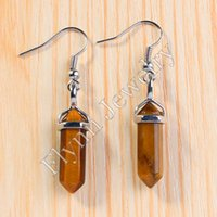 Wholesale Beautiful Mini Amethyst Onyx etc Natural Stone Hexagon Prism Point Healing Chakra Dangle Earrings Charm Fashion Jewelry Women Gift Pairs