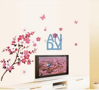 Wholesale Beautiful Peach Blossom Flowers Removable Wall Sticke Art Decals Vinyl Stickers Decorative Wallpaper Mural Decal DIY Home Decoration H11567