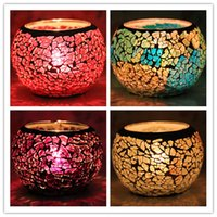 tea cup candles - Home Decoration Glass mosaic lantern Candle Holders for KTV bar Wedding Candlestick