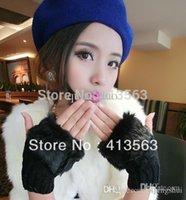 Wholesale Fashion Winter Arm Warmer Fingerless Gloves Knitted Fur Trim Gloves Mitten touch glove pairs