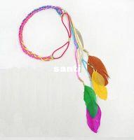 Wholesale New Arrive Hippie Feather Leaf Hairband Tassels Weave Headband Elastic Headdress