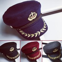 badge crown - new winter Yacht Captain Hat Sailor Navy wheat badge embroidered woolen Crown octagonal cap hats