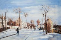 art reproduction artist - Camille Pissarro decoration oil painting Street in the Snow Louveciennes ART famous artist reproduction